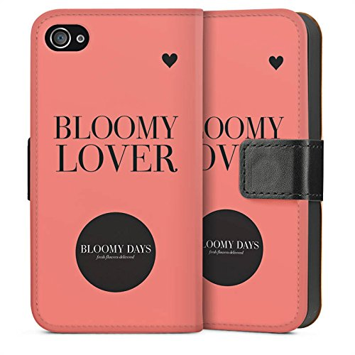 Apple iPhone 4 Housse Étui Silicone Coque Protection Fleurs amour Phrases Cercle Sideflip Sac