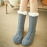 LILONGXI Warme Socken,Frau Winter Weihnachten Socken rutschfeste Boden Verdickung Warme Socken, Mädchen Plus Grau Muster Drucken Baumwolle Socken, Hausschuhe Freizeit Socken(3pcs)