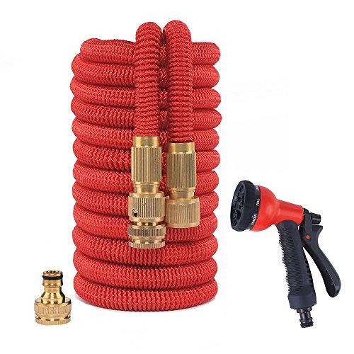 Nuzamas Jardin Tuyau d'arrosage 100 Pieds Tuyau extensible avec tous les connecteurs Laiton avec 8 Motif pistolet multijets et raccord rapide, lavage à haute pression, extensible 10 m – 30 m Latex Intérieur Rouge 30,5 m