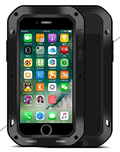 Love Mei Case für iPhone 7 (11,9 cm), Love Mei [gerade Stil] aluminum-silicone Hybrid Metall spritz Wasserdicht Stoßfest schwarz