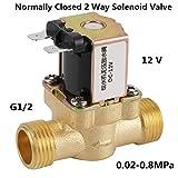 Elettrovalvola a solenoide elettrica 1/2' G , Elettrovalvola a solenoide elettrica in ottone normalmente chiuso a 12 V N/C, valvola di regolazione della pressione a 2 vie
