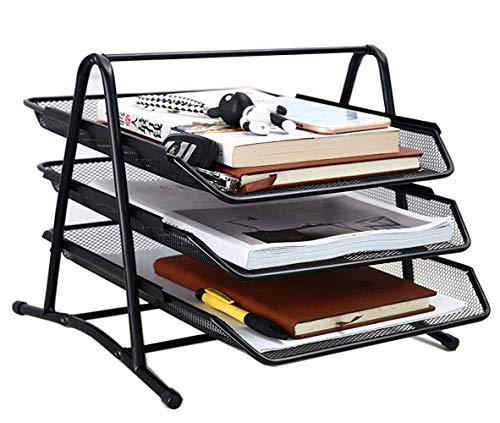 Portadocumenti a rete impilabile, organizer da scrivania, 3 vassoi con cassetto scorrevole e portadocumenti da appendere, in rete nera