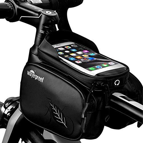 greatdaily Fahrrad Rahmentasche Wasserdicht Tube Tasche| MTB Top Design PU Tasche, TPU-Touchscreen Fur Unter 5,5 Zoll Telefon, Reitausrüstung « Schwarz»