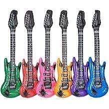 Relaxdays – Guitarra inflable, 100 cm de largo, para grandes y pequeñas estrellas de rock, diferentes colores: verde, rojo, pink, naranja, lila, azul