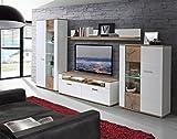 NEWFACE ASQM01LB-N98  Wohnwand Kombination inklusive Glasbodenbeleuchtung, Holz, Planked Eiche mit Weiß, 348.30 x 52 x 198.30 cm