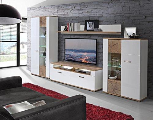 NEWFACE ASQM01LB N98 Asta Wohnwand Kombination Inklusive  Glasbodenbeleuchtung, Holz, Planked Eiche Mit Weiß, 348.30 X 52 X 198.30 Cm