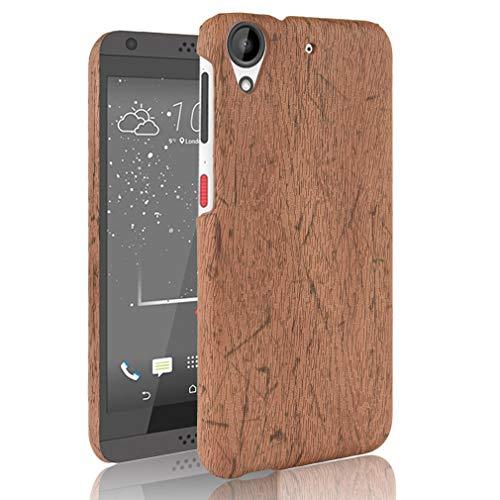 LMFULM® Hülle für HTC Desire 650/628 / 626G (5,0 Zoll) Holz Außerhalb Harter PC Stoßfänger Silikon Hülle Dünner Handyhülle Dünne Rückseitige Abdeckung für HTC 650/628 / 626G Braun