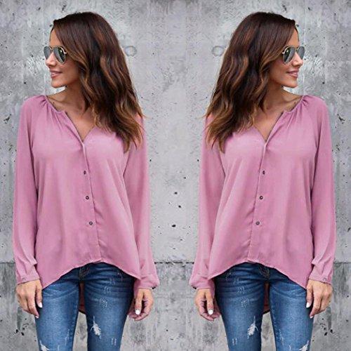 Tops en mousseline de soie, GreatestPAK T-shirt décontracté à manches longues pour femmes Rose