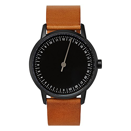 slow round 07 - Brown Leather, Black Case, Black Dial