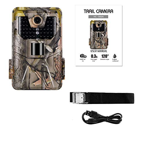 AAERP Wildkamera,Fotofalle 12MP 1080P mit Infrarot-Nachtsicht 20 m IP66 Spray Wasserdicht für OutdoorWildlife Jagd und Haussicherheit, Bewegungsmelder