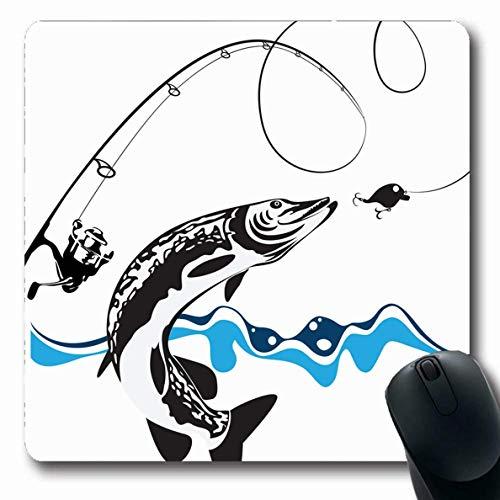 Luancrop Mousepad Oblong Prey Blue Fisch Pike Spinning Reel Wobbler Angeln Sport Erholung Haken Fly Design Muskelunge Büro Computer Laptop Notebook Mauspad, rutschfeste Gummi -