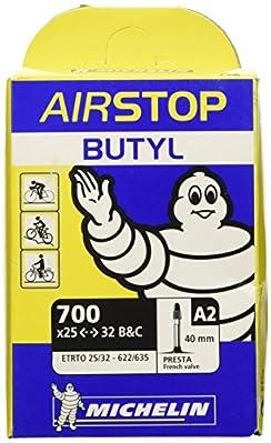 Michelin Airstop Fahrradschlauch 28 Zoll für schmale Reifen - Der berühmte MICHELIN Butyl-Schlauch - stabil und zuverlässig  - neue Form erleichtert die Montage - Luftdicht durch die Verwendung von BUTYL-Kautschuk - mit Sclaverandventil (SV) ...