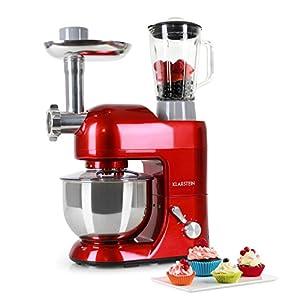 Klarstein Lucia Rossa • Universal Küchenmaschine • Rührmaschine • Knetmaschine • 1200 W • 5 Liter • planetarisches Rührsystem • Fleischwolf • 6-stufige Geschwindigkeit • Edelstahlschüssel • rot