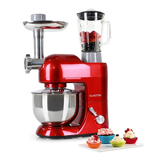 Klarstein Lucia Rossa • Robot de cuisine • Mélangeur • Pétrin • 1200 W • 5 L • Hachoir à viande • Pâtes • Bol mixeur 1,5 l • 6 vitesses • rouge