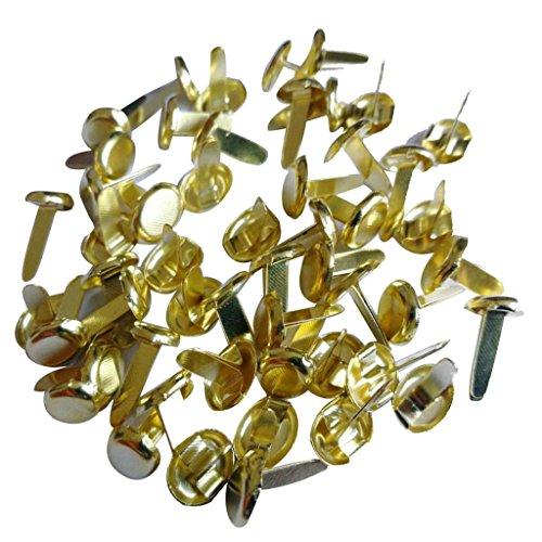 Sharplace 200 Stücke Gold überzogene Runde Mini Brads Musterbeutelklammer Scrapbooking Verschönerung Diy Handwerk (Gold Mini Brads)