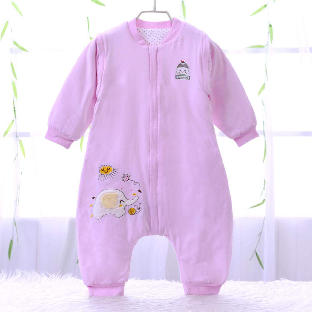 Saco de dormir para bebé con piernas divididas pijama para niños pequeños de algodón otoño e invierno Siamés de doble propósito anti-patada desmontable saco de dormir unisex de manga larga 1-3 años