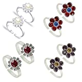 #2: PCM- Toe Ring -Multicolour Silver Plated Adjustable Toe Ring For Girl /Women