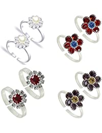 PCM- Toe Ring -Multicolour Silver Plated Adjustable Toe Ring For Girl /Women