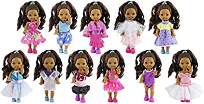 ZITA ELEMENT Ropa de muñeca Lot 6 PCS Moda lovely mini Clothes vestido Outfit for Barbie's little sister Kelly Doll -XMAS GIFT