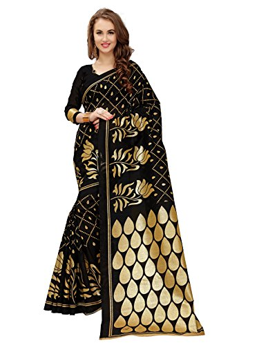 Glory Sarees Women's Cotton Silk Saree With Blouse Piece (Gsfoil1_Black)