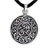 DarkDragon Anhänger keltische Triskele Dreierwirbel Relief 925er Silber Schmuck Schutzamulett mit Lederhalsband Schmucksäckchen und Karte 541