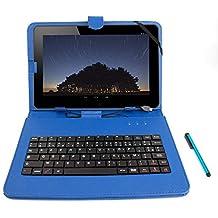 Etui 7 POUCES bleu + clavier intégré AZERTY pour tablette CDiscount CDisplay écran 7 pouces par Haier, Android 4.4 KitKat + stylet tactile BONUS, par DURAGADGET