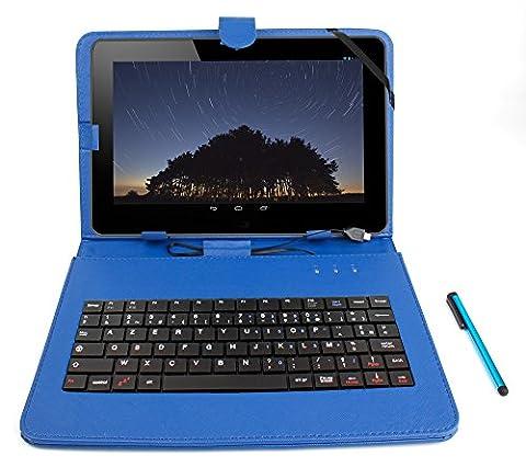 Etui bleu + clavier intégré AZERTY (français) pour Asus Zenpad Z300M-6A037A Tablette hybride 10.1