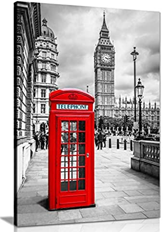 London Red Telephone Box Canvas Wall Art Picture Print (36X24)