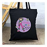 Personalised Bang on the Door Groovy Chick Black Cotton Bag
