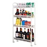 The taste of home Storage Tower Shelf 4 Strati di metallo acciaio al carbonio Gap mobili mobili Rack di stoccaggio Spice Bottle Rack Frigorifero Narrow Trolley Bagno soggiorno Shelf White Pulley Dimen