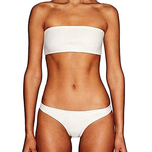 Rifuli Damen Bikini Frauen Schulterfrei Push-Up Gepolsterter BH Beach Bikini Set Badeanzug Bademode Reizvoller Tankini Badebekleidung Badeanzüge