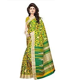 Fabwomen Sarees Floral Print MULTI-COLOURED Cotton Silk Bhagalpuri Fashion Casual Wear Women's Saree/Sari.