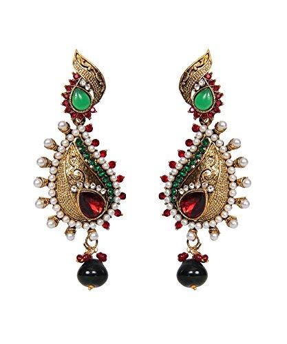 Rot Grün Polki Stein besetzt Pearl Gold Traditionelle Ohrringe ()