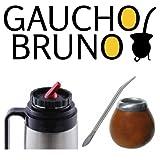 Yerba Mate , Bombilla y Frasco Gaucho Bruno con pico de alta precision