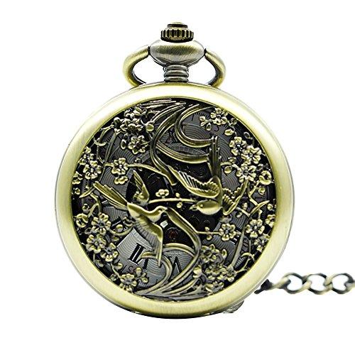 Icegrey Liebesvogel Taschenuhr Mit Gravur Glücksbringer Mechanisch Taschenuhr Anhänger mit Halskette Kette Pocket Watch
