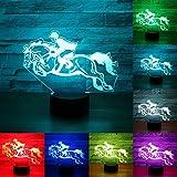 RUMOCOVO® Paard Racing 3D LED Nachtlampje 7 Kleuren veranderen Lamp USB Visuele Tafellamp Creatieve Kerstmis Verjaardagscadeaus Thuis Kantoor Decoraties Lamp