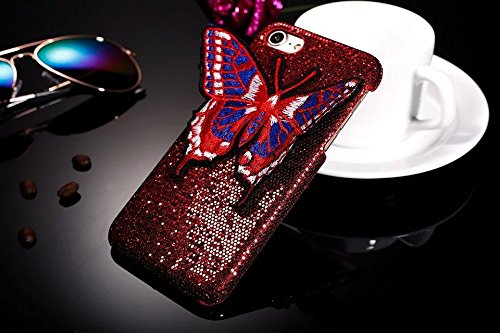Étui iPhone 6 Plus,Coque protecteur iPhone 6 Plus,Charmant romantique Ours motif Housse iPhone 6 Plus, ETSUE [Étui miroir Diamant en cristal brillant Bling Glitter] iPhone 6 Plus Slicone Coque en caou Rouge