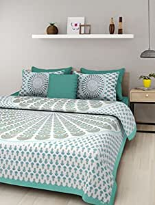 Suraaj Fashion Bedsheets for double bed cotton 100% cotton rajasthani jaipuri Double Bedsheets with 2 Pillow Cover, Multicolour