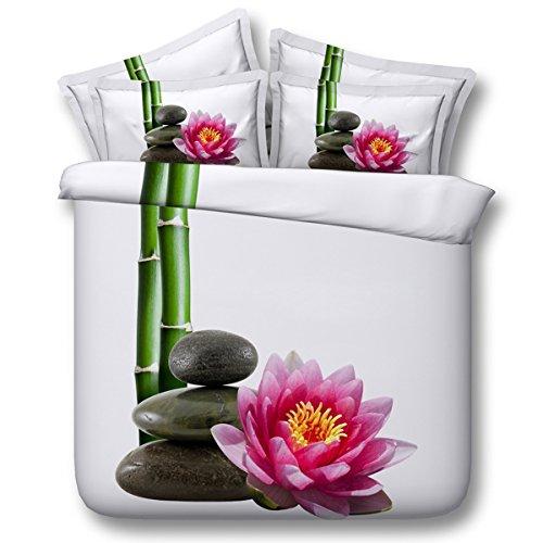 AISHUAIGE Neue Bettbezug 3D Lange Bambus Blume Digitaldruck Faser Material 3 Stücke Bettwäsche-Sets, 150 * 200 (Bettdecke, Kissen Einfügen)