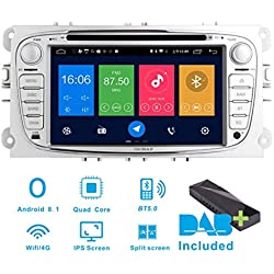 "Android 8.1 Autoradio Dab+ (Inclus) pour Ford Focus Mondeo Galaxy C & S-Max 7"" GPS Nav◕Canbus/IPS panel/Bluetooth/WIFI/4G/écran Tactile GPS/DVD/AUX."