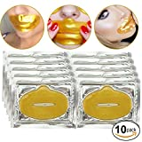 Set Kit of 10pcs 24K Gold Golden Collagen Gel Crystal Masks Lips Patches Mouth Sheets for Anti Aging Treatments, Fine Lines and Wrinkles Removal, Hydration, Nourishing and Skin Firming