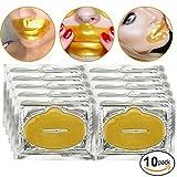 Set Kit de 10pcs 24K oro dorado parches de máscaras de colágeno Gel Cristal Labios Boca hojas para anti envejecimiento Tratamientos