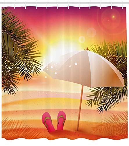 OuopBgbkkjn Orange Shower Curtain Tramonto in Spiaggia con Infradito Ombrello e Palme Illustrazione Tessuto Arredo Bagno con Ganci 180cm Arancio e Giallo