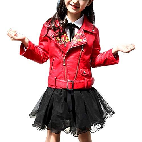 YoungSoul Jacken für Mädchen Kinder Kunstlederjacke mit Gürtel Geblümte Bikerjacke aus...