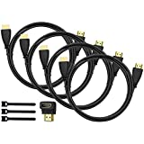 Perlegear HDMI Cable 4 Pack - 6 Feet High Speed HDMI Cables - Supports TV, 1080P, 3D, 4K, HDTV, Xbox, Playstation, Wii, Computer, Laptop, ARC, Projector - With 90 Degree HDMI Adapter & Cable Ties