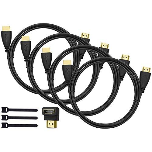 Perlegear HDMI Kabel 4 Pack 1.8m - Hochgeschwindigkeit HDMI Kabel mit 90 Grad Winkel HDMI Adapter für 4K Videowiedergabe, Full HD TV, 1080P, 3D, PS4, PS3, Wii, Ethernet, Computer, Laptop, ARC