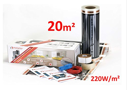 Heating floor - 20m2 Kit de électrique Chauffage au Sol Film Chauffant sous Parquet, Bois ou Stratifé 220W/m2