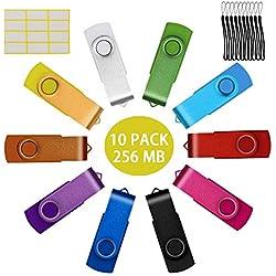 Uflatek 10 Pièce Clé USB 256 Mo Mémoire Flash Drive Rotation U Disque Multicouleur USB 2.0 Stick - Orange/Jaune/Blanc/Vert/Bleu Ciel/Rouge/Rose Rouge/Noir/Bleu/Violet