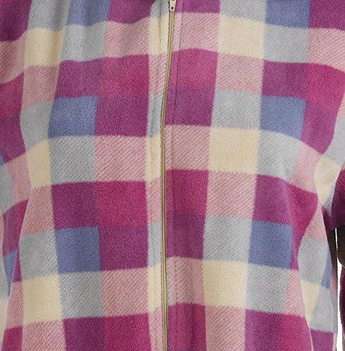 Polaire douce pour femme Imprimé à carreaux collet héros Petite Taille XL Bleu et blanc rose