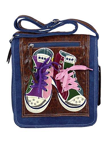 Süße Umhängetasche Canvas Style mit Turnschuhen und echten Schnürrsenkeln mit Glitzerfaden - Damen Mädchen Teenager Tasche Blau